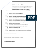 student evaluation of teacher effectiveness