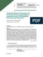 Cannabis Extract Treatment for Terminal Acute Lymphoblastic Leukemia with a Philadelphia Chromosome Mutation