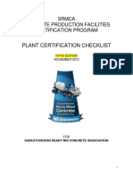 SRMCA Concrete Production Facilities Certification Program Checklist - Fifth Edition Rev Nov. 2013