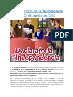 La Declaratoria de La Independencia Del 25 de Agosto de 1825