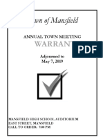 Mansfield 2019 Town Meeting Warrant
