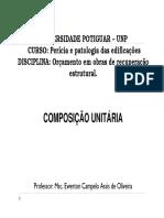 Aula 03 PÓS Orçamento Recuperação Estrutural - Composição Unitária