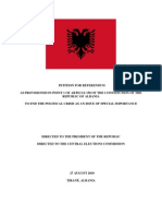 Albanian conservative petition calling for General Election re-count.