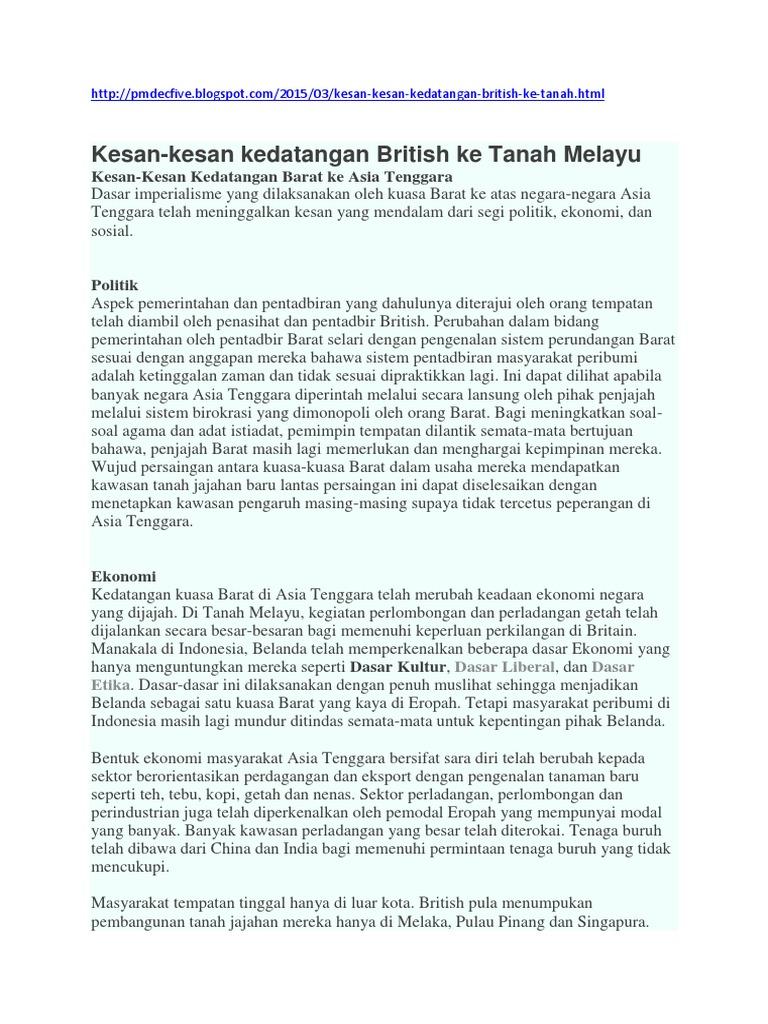 Kesan Kesan Kedatangan British Ke Tanah Melayu