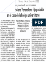 Camara Petrolera Fija Posicion en Caso de Huelga Universitaria - El Universal 24.03.1988