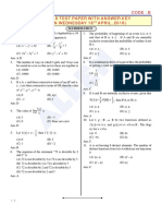 KCET 2018 Mathematics Paper With Answer