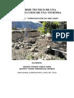 Informe Tecnico de Una Construccion de Casa (Proceso Constructivo)
