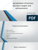 Universalization of Primary Education Targets and Achievements