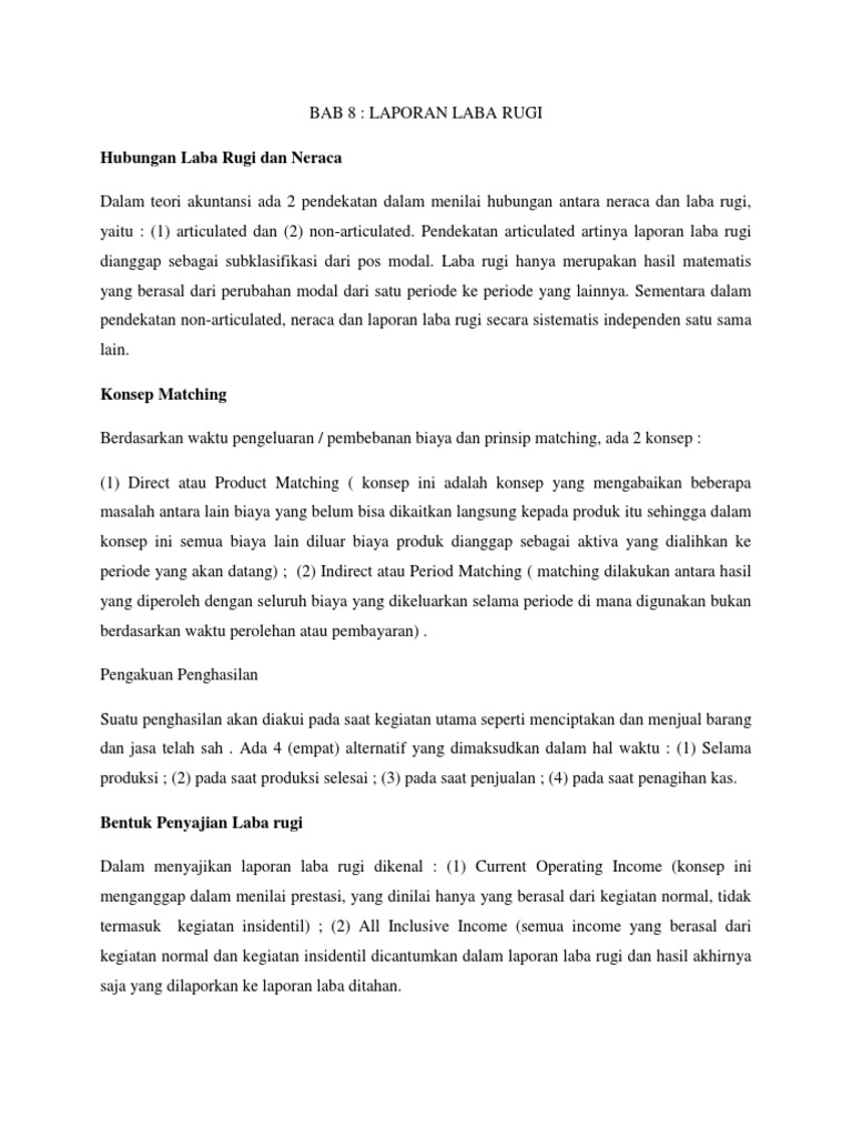 contoh laporan laba rugi all inclusive