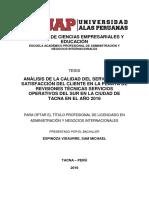 Análisis de La Calidad Del Servicio y La Satisfaccion Del Cliente en La Planata de Revisiones Tecnicas Servicios Operativos Del Sur en La Ciudad de Tacna
