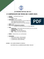 Club Centro Social de Ica - Campeonato Tenis 2019