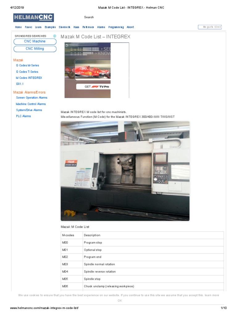 Mazak M Code List – INTEGREX: CNC Machine CNC Milling