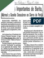 Yacimientos Importantes de Barita, Marmol y Granito Descuben en Sierra de Perija - Ultimas Noticias 09.05.1988