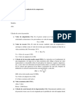 Determinación de Costo Unitario de La Compresora