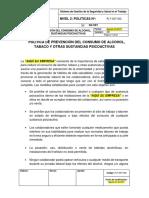 PLT-SST-002 Política de Prevención Del Consumo de Alcohol, Tabaco y Otras Sustancias Psicoactivas