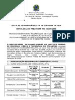 Edital 15 Homologacao Preliminar Inscricoes