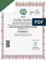 Sertifikat Akreditasi UIN Malang 2019 Sampai Dengan 9 April 2024