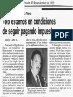 Edgard Romero Nava - No Estamos en Condiciones de Seguir Pagando Impuestos - Diario La Tarde 15.11.1995
