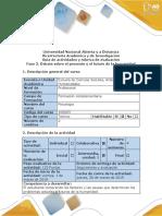 Guía de Actividades y Rúbrica de Evaluación - Fase 3 - Debate Sobre El Presente y El Futuro de La Humanidad
