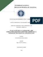 Evaluación de La Calidad Del Aire Empleando Liquenes Como Bioindicadores en La Ciudad de Chachapoyas