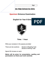 Specimen Y9 Entrance Exam