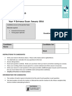 YR9 Maths Entrance Assessment Practice Paper a NEW