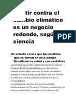 Invertir Contra El Cambio Climático Es Un Negocio Redondo