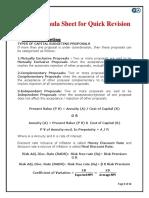 SFM Formulas Sheet for Quick Revision Before Exam