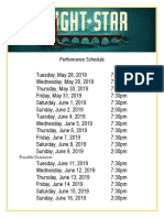 Bright Star Performance Schedule