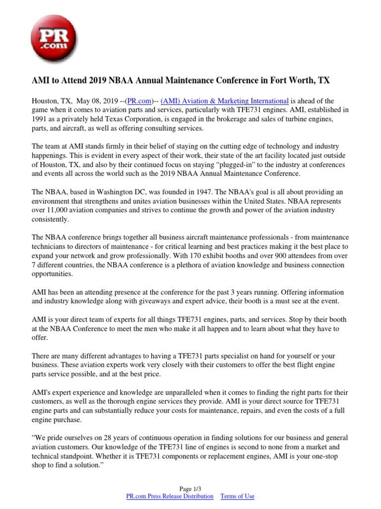 AMI to Attend 2019 NBAA Annual Maintenance Conference in Fort Worth