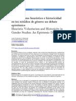 Voluntarismo Heurístico e Historicidad en Los Estudios de Género Un Debate Epistémico