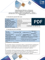 Guía de Actividades y Rúbrica de Evaluación - Tarea 1 - Introducción a Los Modelos Probabilísticos de Decisión y Optimización