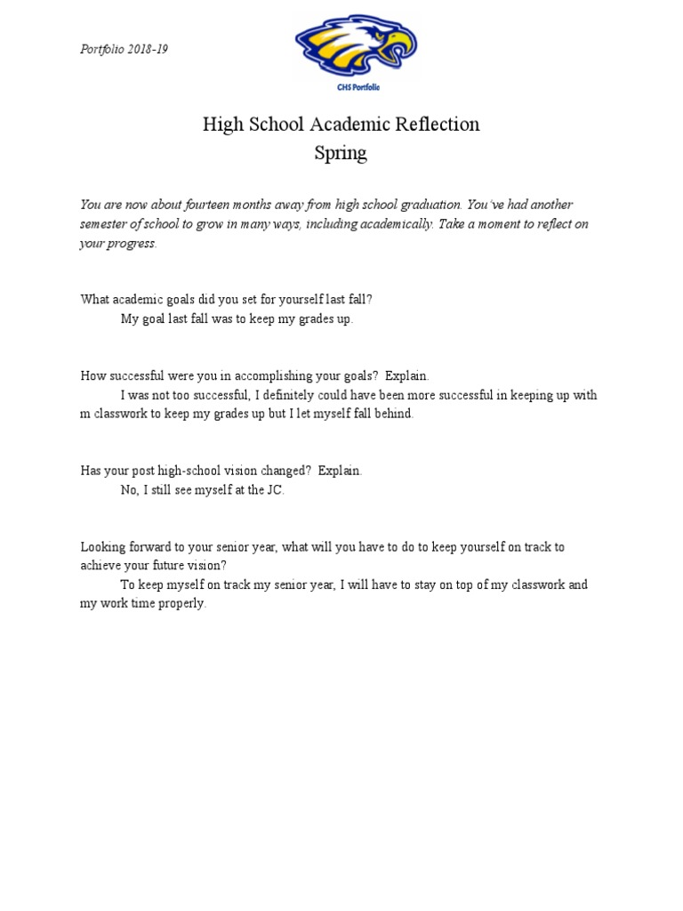 copy of spring high school academic reflection