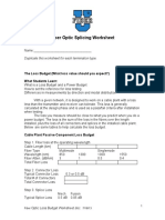 Fiber Optic Loss Budget Worksheet