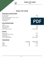 Características Evaporador ECO mod. CTE125L8