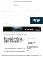Concrete Resurfacing - Repair of Concrete Floor or Pavement Surfaces