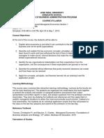 Advanced Managerial Economics Course Syllabus Section 1