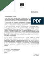 Lettre du Commissaire européen à l'Energie Arias Canete à la ministre de la Transition écologique espagnole Teresa Ribera Rodriguez