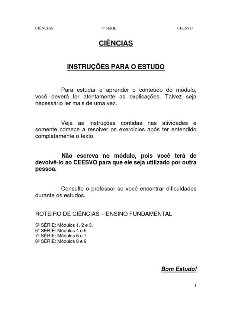 Conhecido Apostila Ensino Fundamental CEESVO - Ciências 03 KQ32