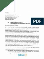 Walmart's written response to FDA