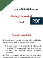 Curs 7 Strategii de Control Validitatea Interna