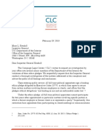 2-20-19 Letter to Interior IG Regarding Ethics Violations (With Exhibits)