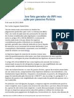 ConJur - Carf Diverge Sobre Fato Gerador Do IRPJEm Caso de Passivo Fictício