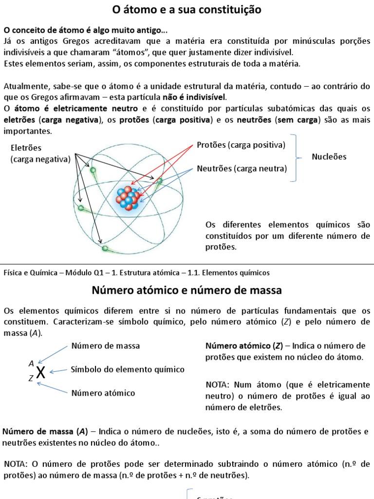 Mod Q1 Conteudos Elementos Químicos Pdf átomos Núcleo