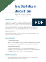 lesson plan-graphing quadratics in standard form