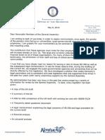 Gov Bevin General Assembly Letter