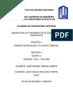 NUMERO DE REYNOLDS Y FLUJO EN TUBERIAS