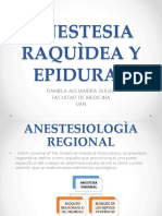 Anestesia Raquìdea y Epidural