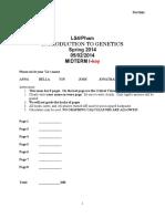 UCLA Genetics LS4 - Midterm 1 Spr14 Key