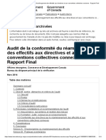 Audit de La Conformité Du Réaménagement Des Effectifs Aux Directives Et Aux Conventions Collectives Connexes - Rapport Final